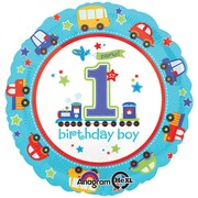 1st Birthday Boy All Aboard Foil Balloon (17in. / 43cm) Pk 1