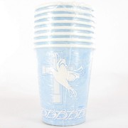 Blue Dove & Cross Cups Pk 8