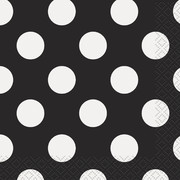 Black & White Polka Dot Cocktail Napkins Pk 16