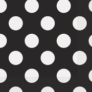 Black & White Polka Dot Lunch Napkins Pk 16
