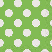 Lime Green & White Polka Dot Cocktail Napkins Pk 16
