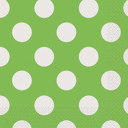 Lime Green & White Polka Dot Lunch Napkins Pk 16