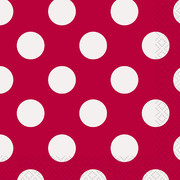 Red & White Polka Dot Cocktail Napkins Pk 16