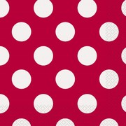 Red & White Polka Dot Lunch Napkins Pk 16