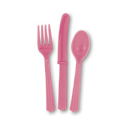 Hot Pink Cutlery Set Pk 24 (8 Forks, 8 Knives & 8 Spoons)