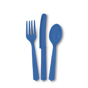 Royal Blue Cutlery Set Pk 24 (8 Forks, 8 Knives & 8 Spoons)