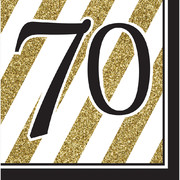 Black & Gold '70' 3 Ply Lunch Napkins Pk 16