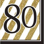 Black & Gold '80' 3 Ply Lunch Napkins Pk 16