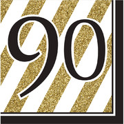 Black & Gold '90' 3 Ply Lunch Napkins Pk 16