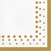 Sparkle & Shine Gold Dots 2 Ply Lunch Napkins Pk 16