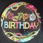 Glow Party Theme Happy Birthday 9in. Paper Plates Pk 8