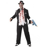 Adult Halloween Zombie Gangster Costume (Large, 42-44)