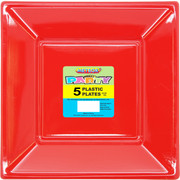 Ruby Red Square Plastic Plates (23cm) Pk 5
