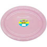Lovely Pink Plastic Oval Plates (30x23cm) Pk 5