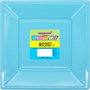 Baby Blue Square Plastic Plates 178mm Pk 8