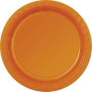 Pumpkin Orange Plastic Plates (178mm) Pk 12