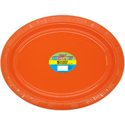 Pumpkin Orange Plastic Oval Plates (30x23cm) Pk 5