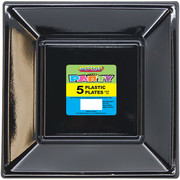 Midnight Black Square Plastic Plates (23cm) Pk 5