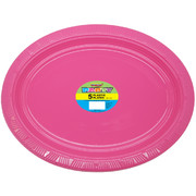 Hot Pink Plastic Oval Plates (30x23cm) Pk 5