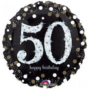 Black & Silver Holographic 50th Birthday Foil Balloon (18in. / 45cm) Pk 1