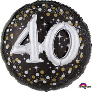Black & Silver Holographic 40th Birthday 3D Supershape Foil Balloon Pk 1