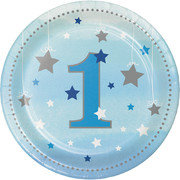 One Little Star Blue (Boy) 7in. Paper Plates Pk 8