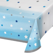 Blue One Little Star (Boy) Plastic Tablecover (137cm x 259cm) Pk 1