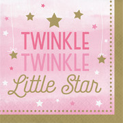 Twinkle Little Star Pink (Girl) 2 Ply Lunch Napkins Pk 16