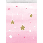 One Little Star Pink (Girl) Party Paper Loot Bags Pk 10