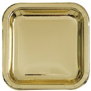 Gold Foil 9in. Square Paper Plates Pk 8