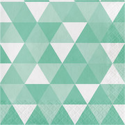 Mint Green Fractal Geometric 2 Ply Lunch Napkins Pk 16