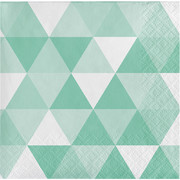 Mint Green Fractal Geometric 2 Ply Cocktail Napkins Pk 16