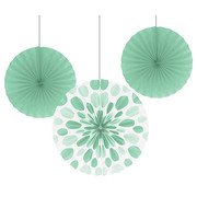 Assorted Size/Design Mint Green Paper Fans Pk 3