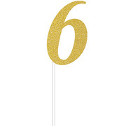 Gold Glitter Number 6 Cake Topper Decoration Pk 1