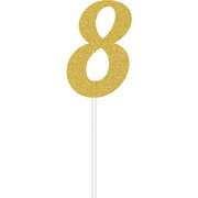 Gold Glitter Number 8 Cake Topper Decoration Pk 1