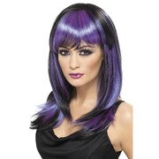 Halloween Gothic Glamour Purple & Black Long Wig Pk 1