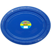 Royal Blue Plastic Oval Plates (29cm) Pk 5