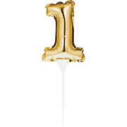 Small Number 1 Gold Self-Inflating Foil Balloon Cake Topper Pk 1