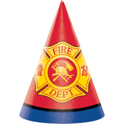 Flaming Fire Truck Party Hats Pk 8