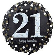Black & Silver Holographic 21st Birthday Foil Balloon (18in. / 45cm) Pk 1