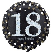 Black & Silver Holographic 18th Birthday Foil Balloon (18in. / 45cm) Pk 1