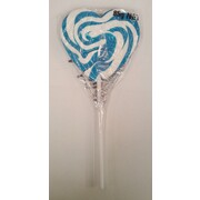 Blue Swirl Mega Heart Pop Lollipop (85g) Pk 24