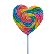 Rainbow Swirl Mega Heart Pop Lollipop (85g) Pk 24