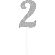 Silver Glitter Number 2 Cake Topper Decoration Pk 1