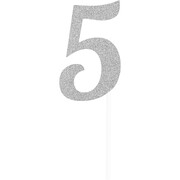 Silver Glitter Number 5 Cake Topper Decoration Pk 1