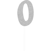 Silver Glitter Number 0 Cake Topper Decoration Pk 1