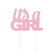 It's A Girl Pink Glitter Cake Topper Decoration Pk 1
