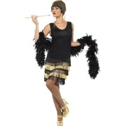 Black and Gold Fringed Flapper Dress Adult Costume (Size Small / 8-10)