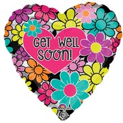 Get Well Soon Floral Heart 18in (45cm) Foil Balloon Pk1