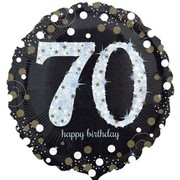Black & Silver Holographic 70th Birthday Foil Balloon (18in. / 45cm) Pk 1
